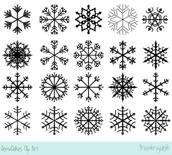 White snowflakes clipart, Black snowflake clip art, Winter holiday clipart.