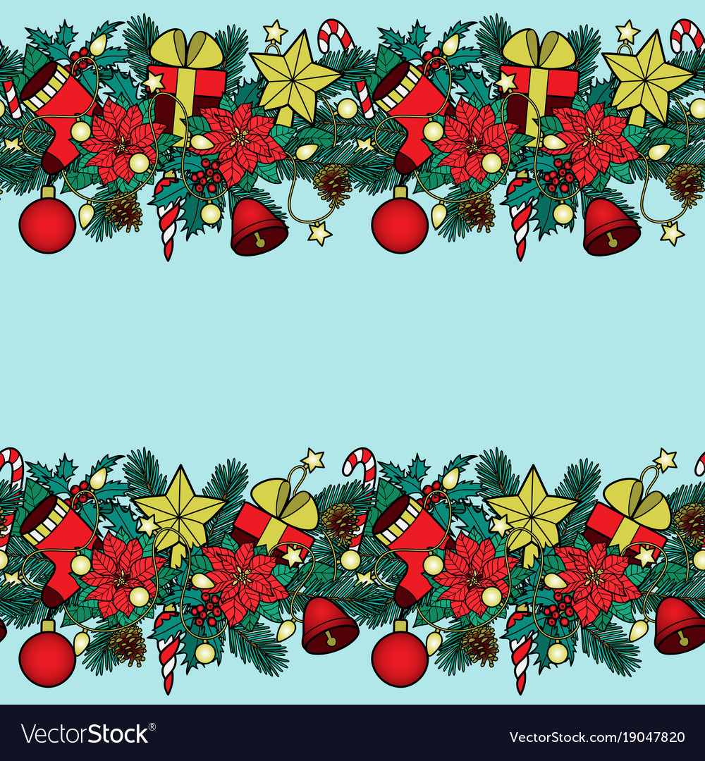 Winter holiday seamless double border.