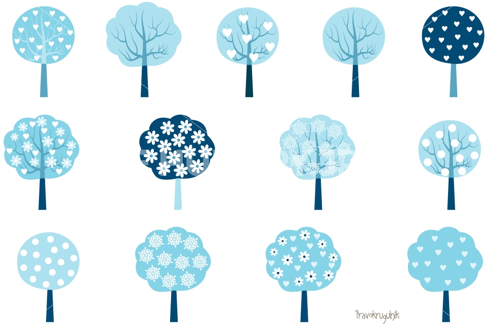Winter trees clipart, Winter tree clip art set, Blue holiday.