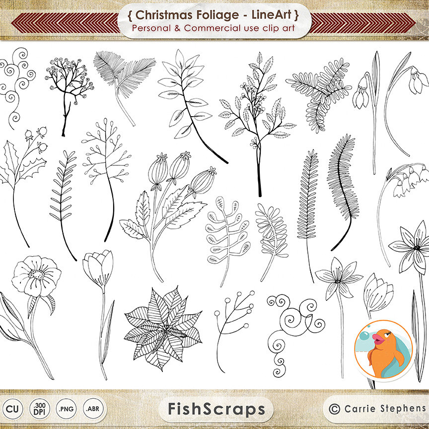 Christmas Flower Embroidery LineArt Holiday Foliage by.