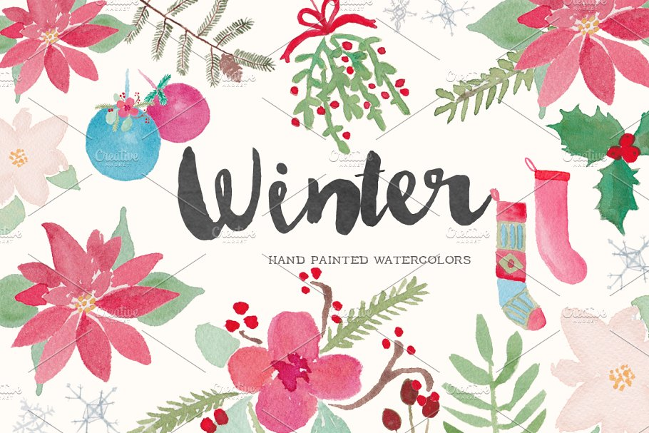 Winter Holiday Watercolor Clip Art.