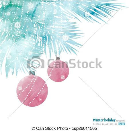 Watercolor winter holiday tree..