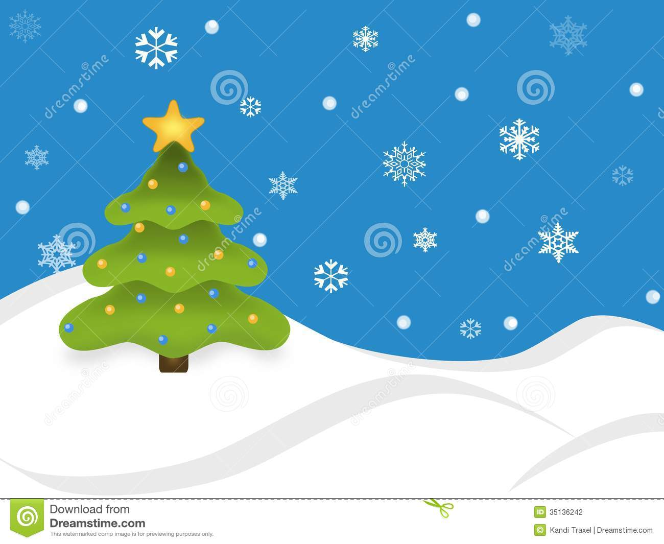 Snowy Holiday Tree Scene stock illustration. Illustration of card.