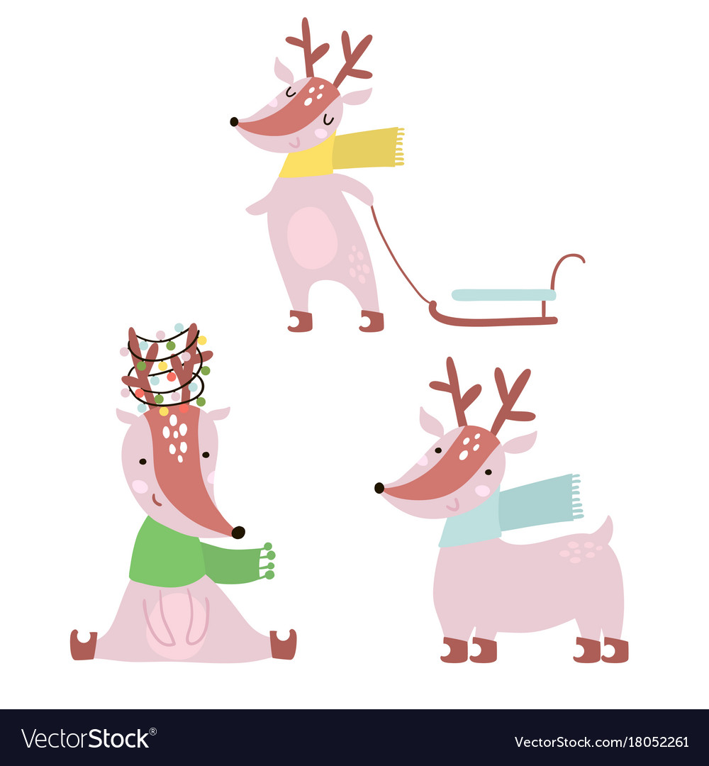 Cartoon winter deers set holiday clipart cute.