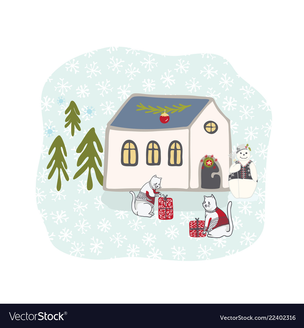 Winter holidays snow scene cottage clipart hand.