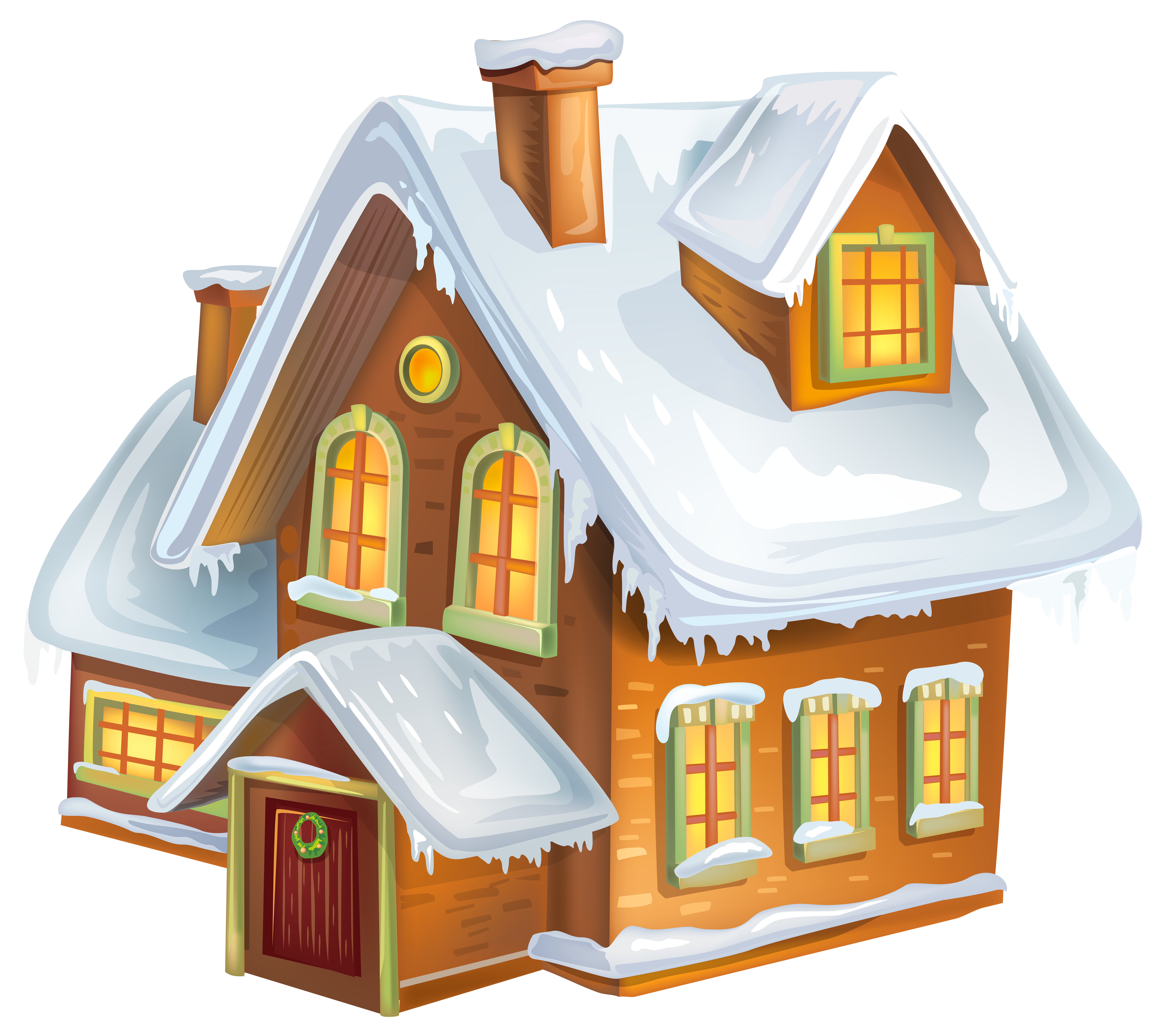 Christmas Winter House Transparent PNG Clip Art Image.