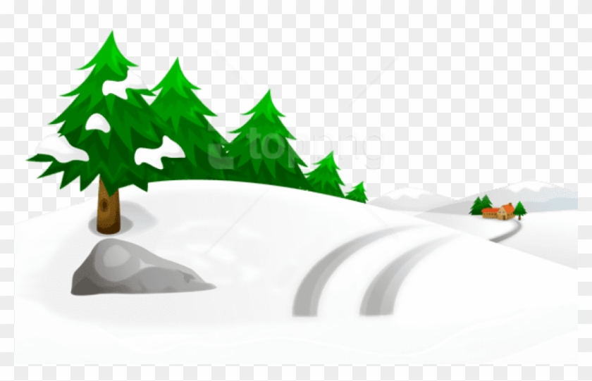 Free Png Snowy Winter Ground With Trees And House Png.