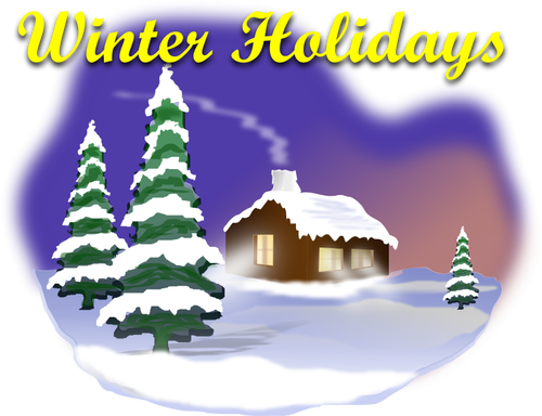 Winter idyll with snow vector clip art.