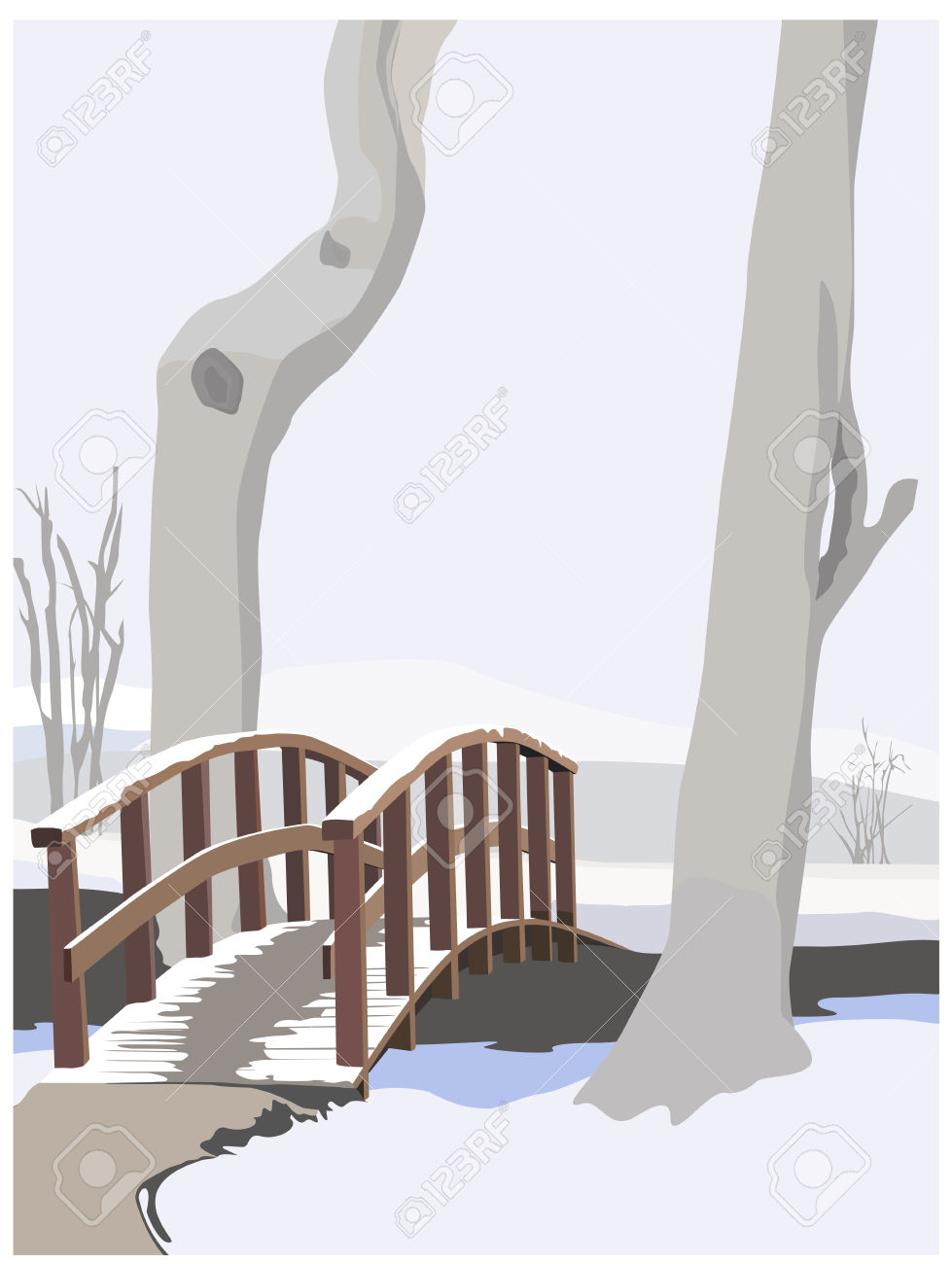 Winter Idyll, Color Vector Illustration Royalty Free Cliparts.