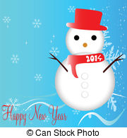 Vector Clip Art of snowman and winter idyll color vector.