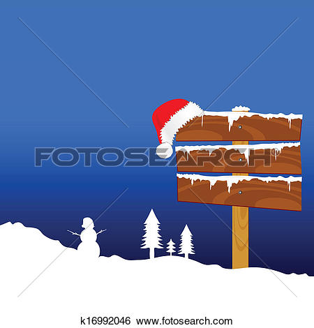 Clip Art of winter idyll with snowman color vector illustration.