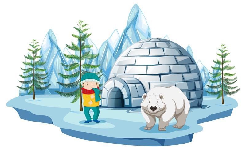 Arctic scene with boy and polar bear by igloo.