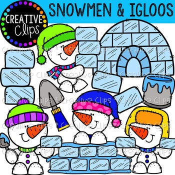 Snowmen and Igloos: Winter Clipart {Creative Clips Clipart}.