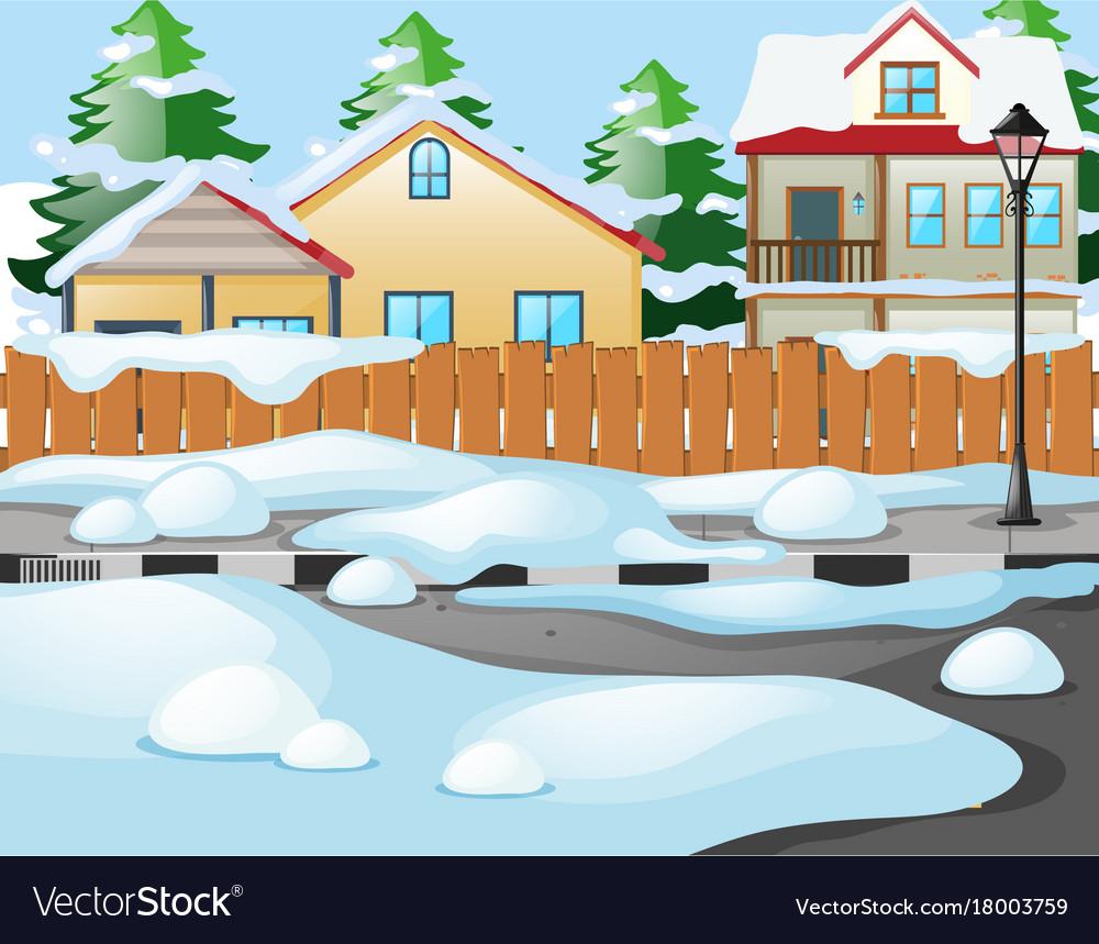 Neighborhood scene in winter time.