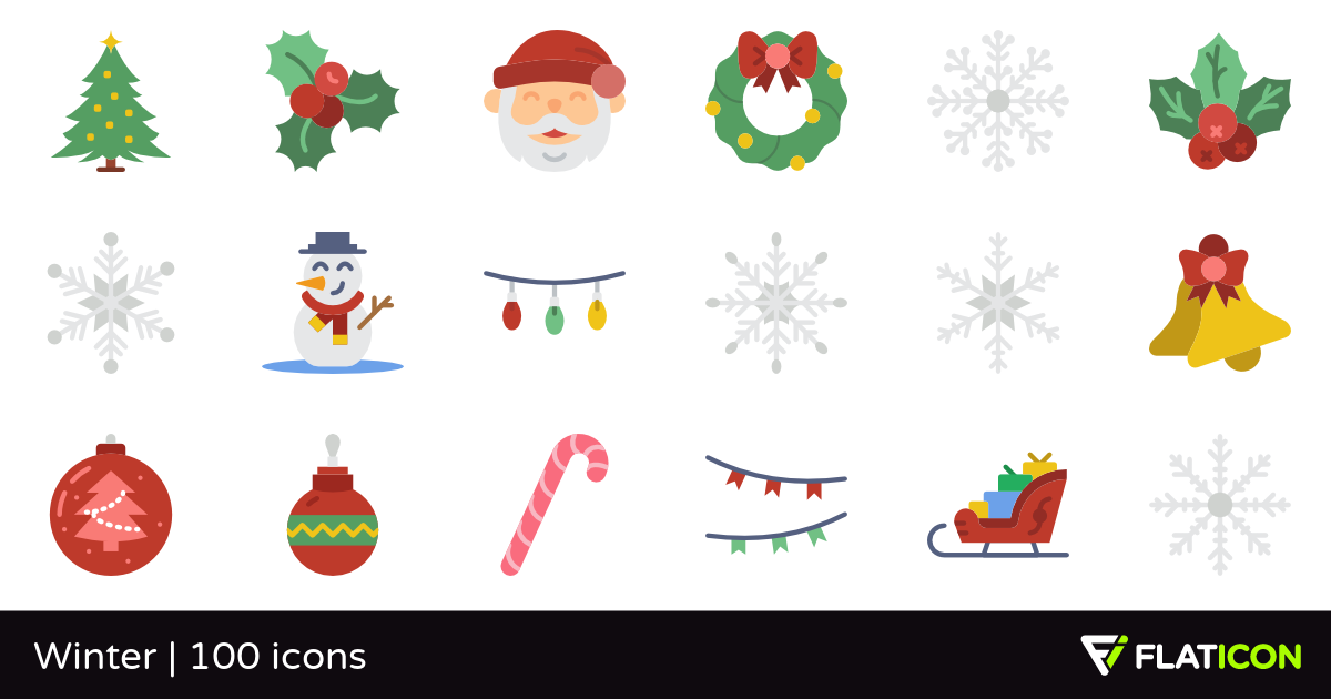 Winter 100 free icons (SVG, EPS, PSD, PNG files).