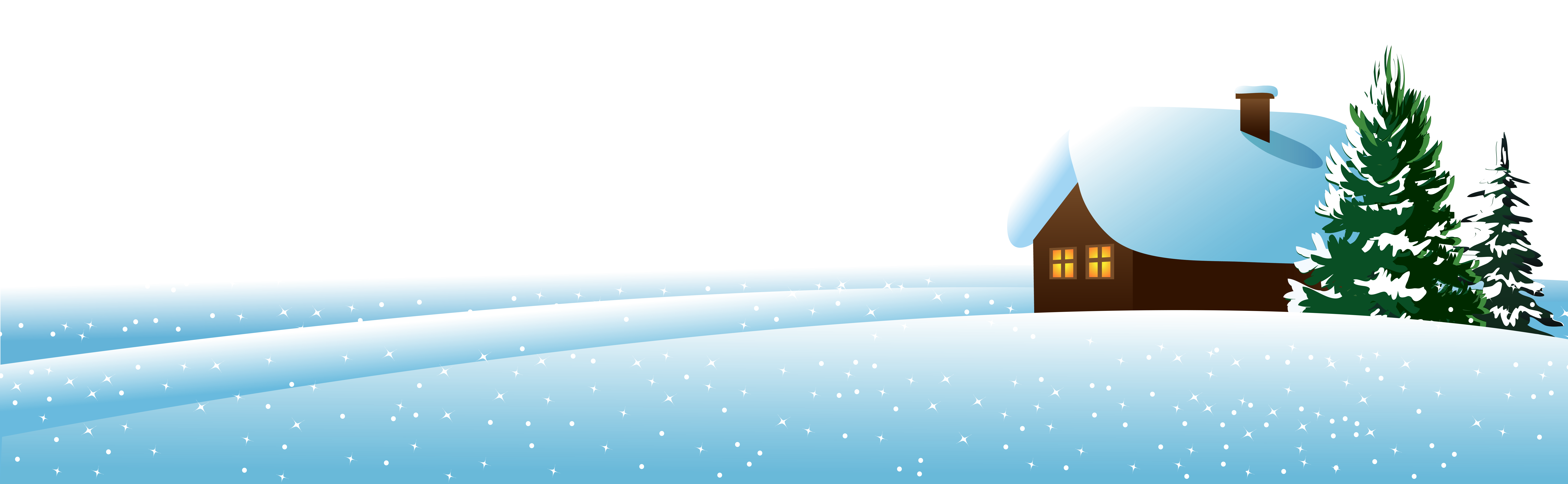 Winter House and Тrees Ground PNG Clipart Image.