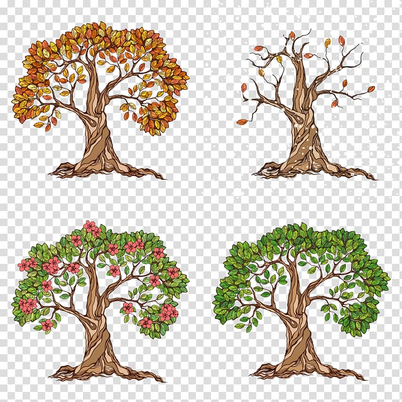 Tree Season Autumn Illustration, A tree of spring, summer.