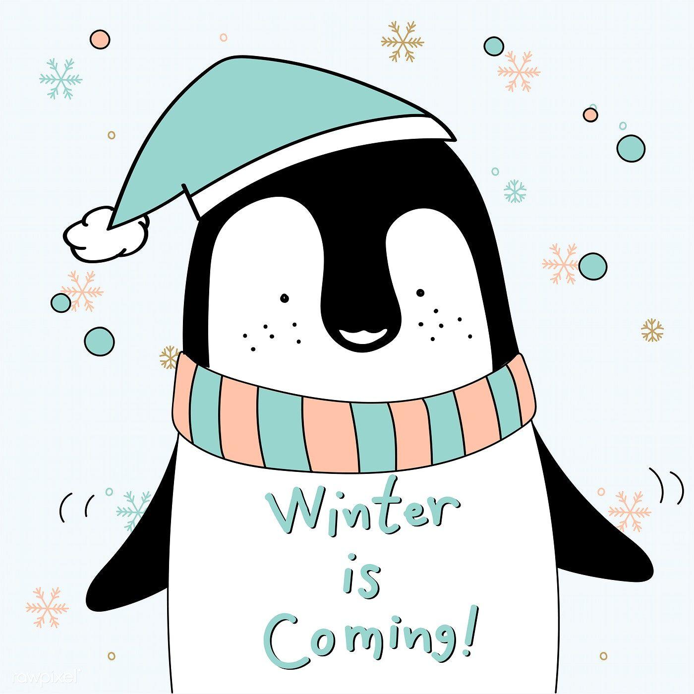Download premium vector of Hand drawn penguin saying winter.