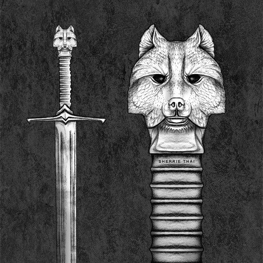 Game of Thrones Jon Snow Longclaw Sword Drawing. Blqck and.