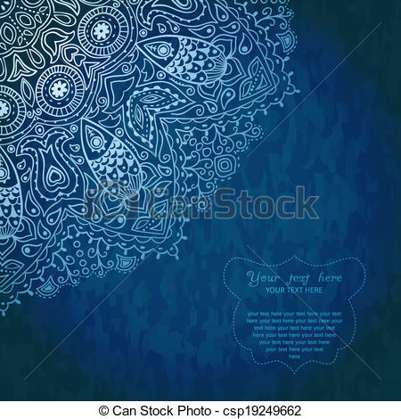Clip Art Vector of Vintage invitation decoration on grunge.