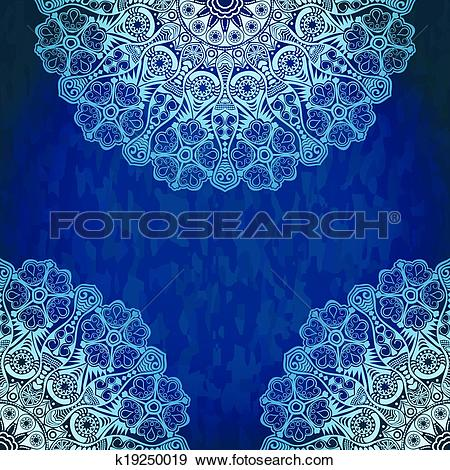 Clip Art of Vintage invitation decoration on grunge background.