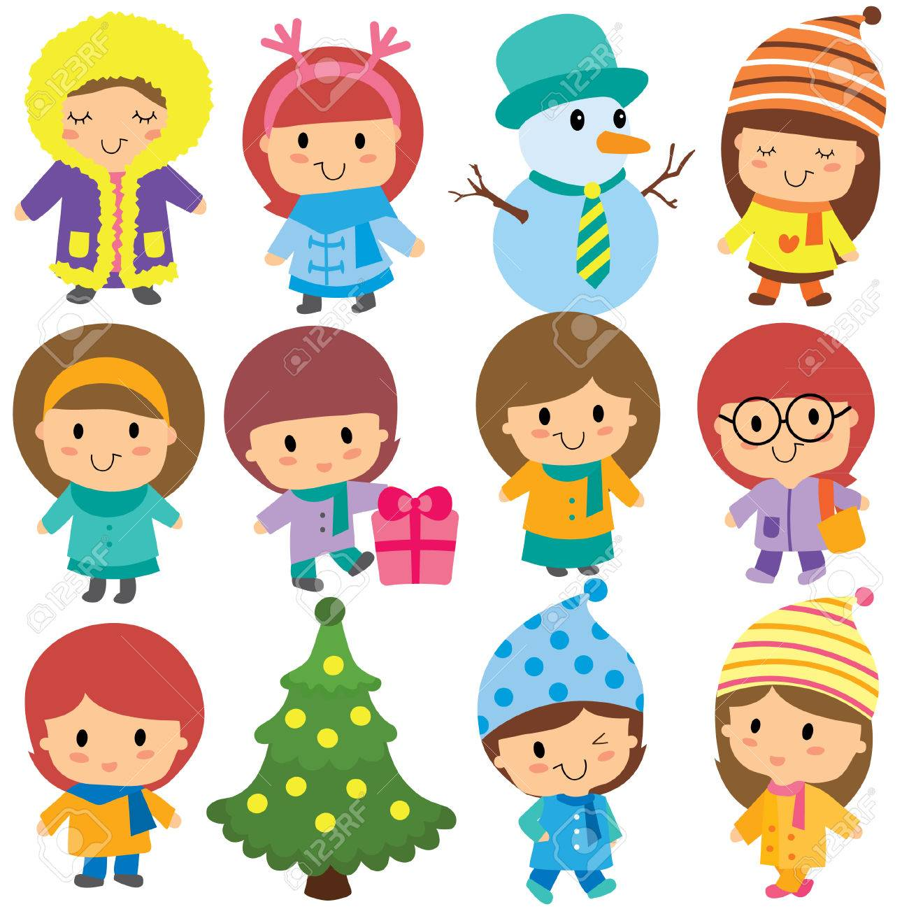 cute winter kids clip art set.