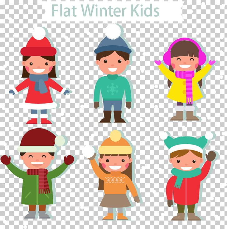 Winter clothing Child , Flat winter children PNG clipart.