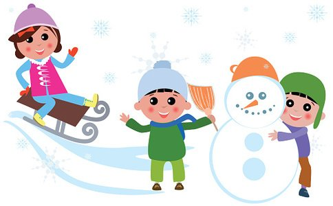 Cute kids playing at Winter Clipart Image.
