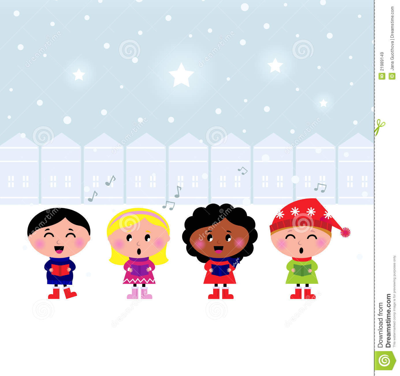 Cute Christmas Carroling Children Singing In Town Royalty Free.