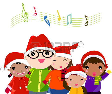 Winter Kids Singing Clipart.