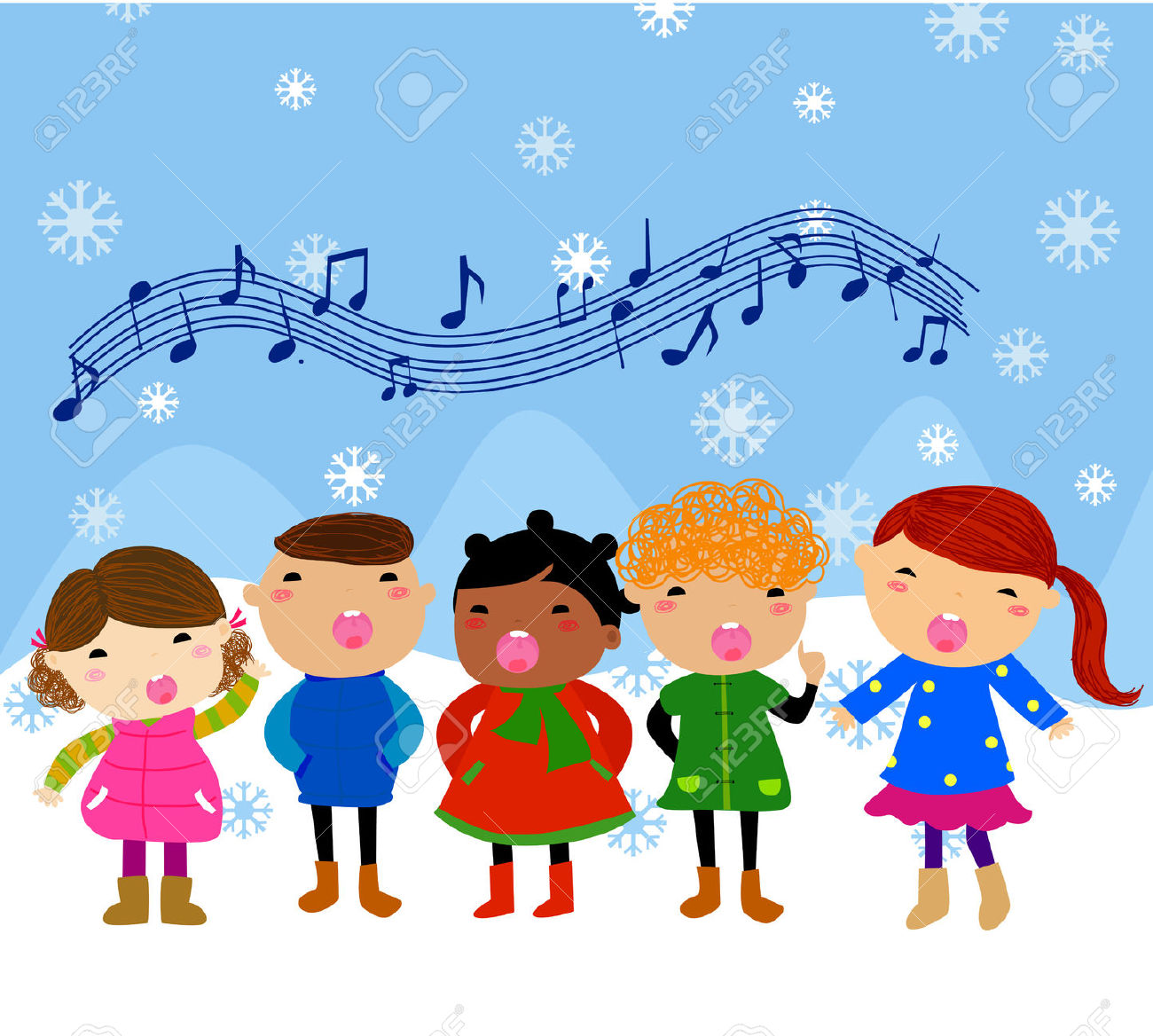 Winter Kids Singing Silent Night Song Royalty Free Cliparts.