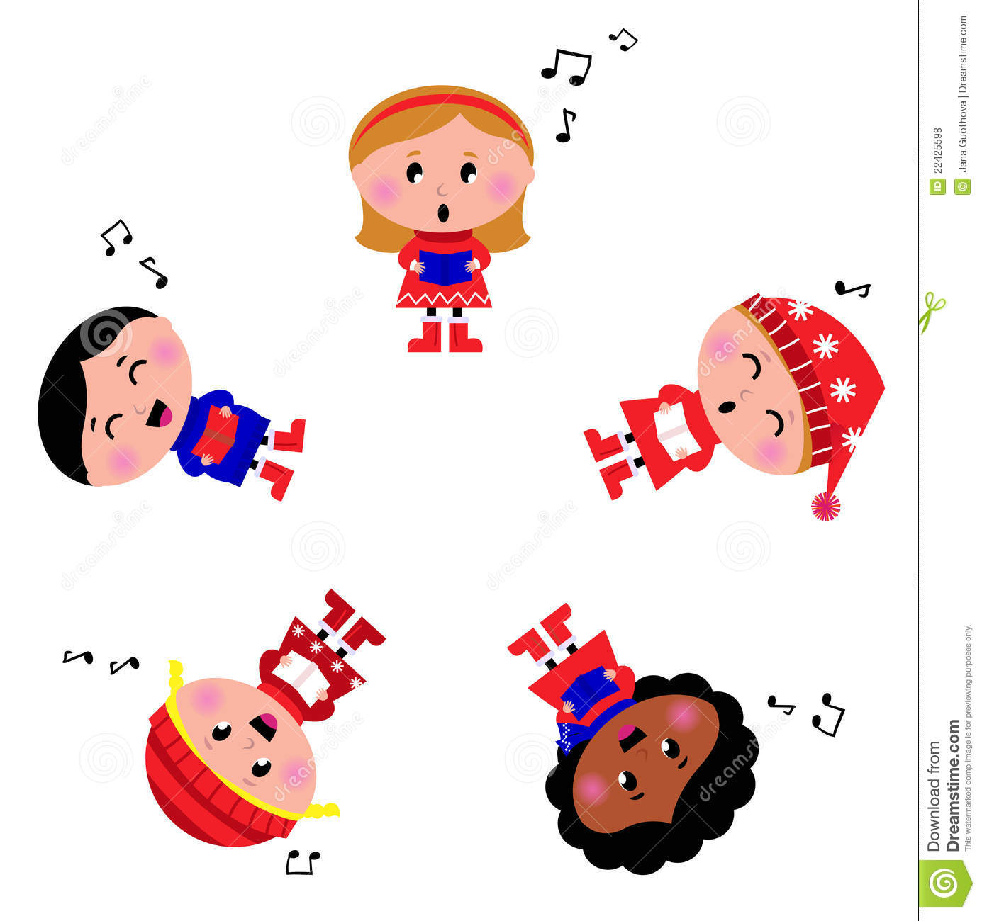 Winter Kids Singing Silent Night Song. Royalty Free Stock Photos.
