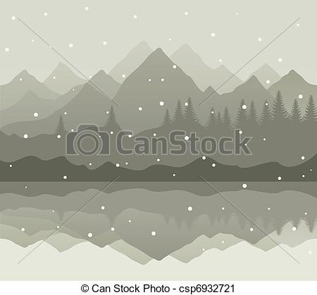 Vector Clip Art of Winter mountains.