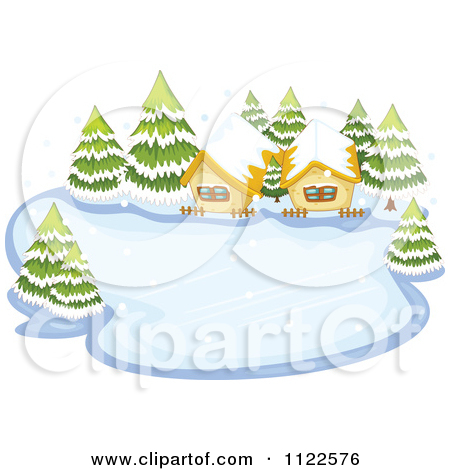 Cartoon Of Two Cabins On A Frozen Winter Lake.
