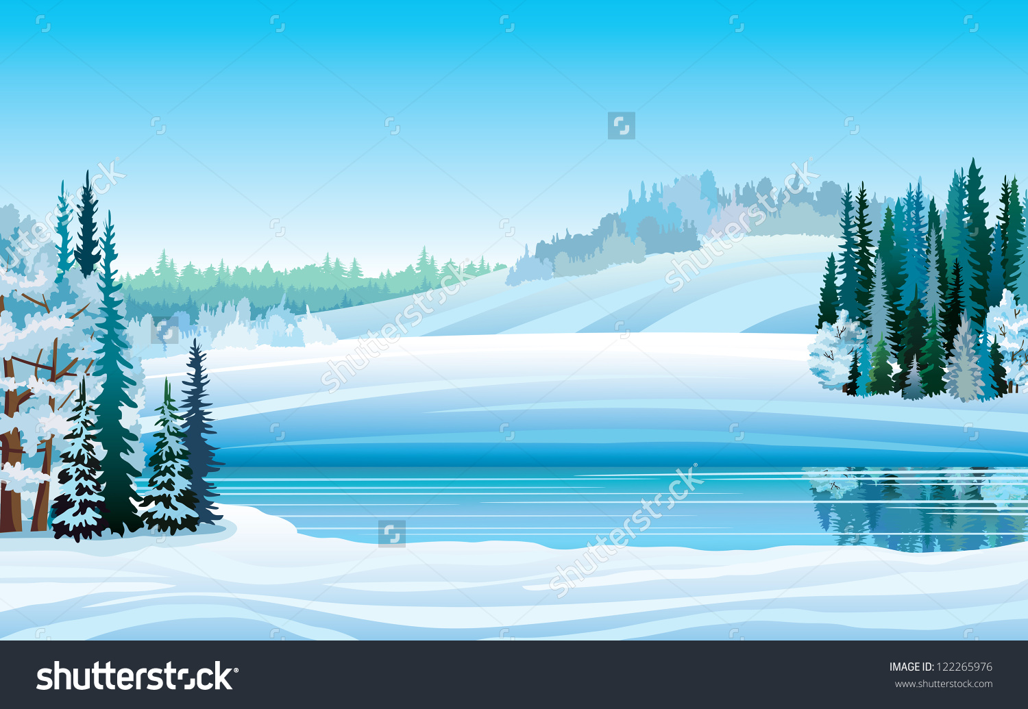 Winter Landscape Vector Clip Art.