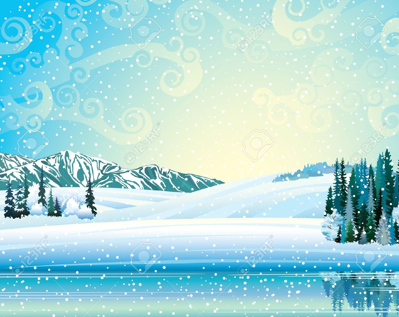 Frozen lake clipart.
