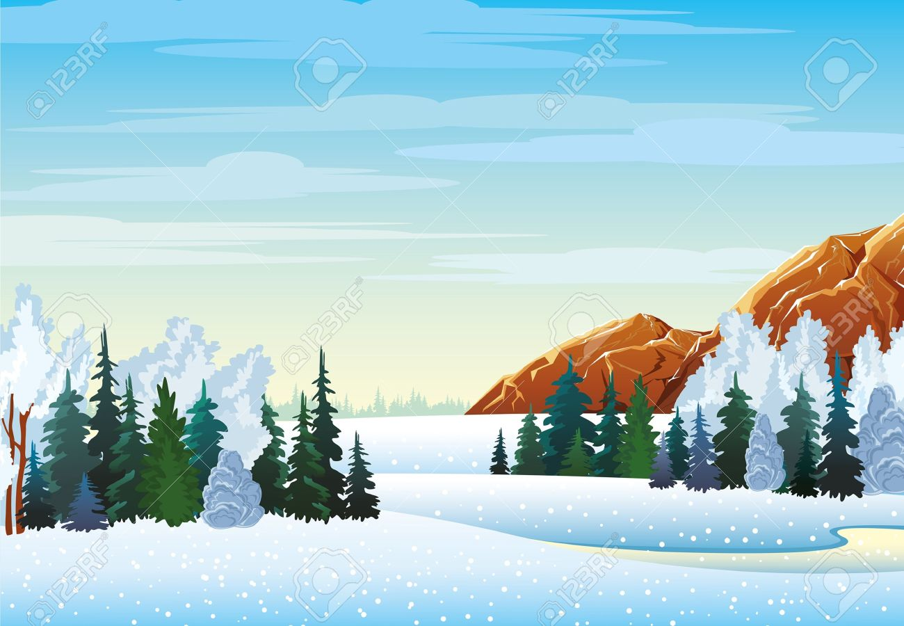 Winter Landscape With Forest, Frozen Lake And Mountains On A.