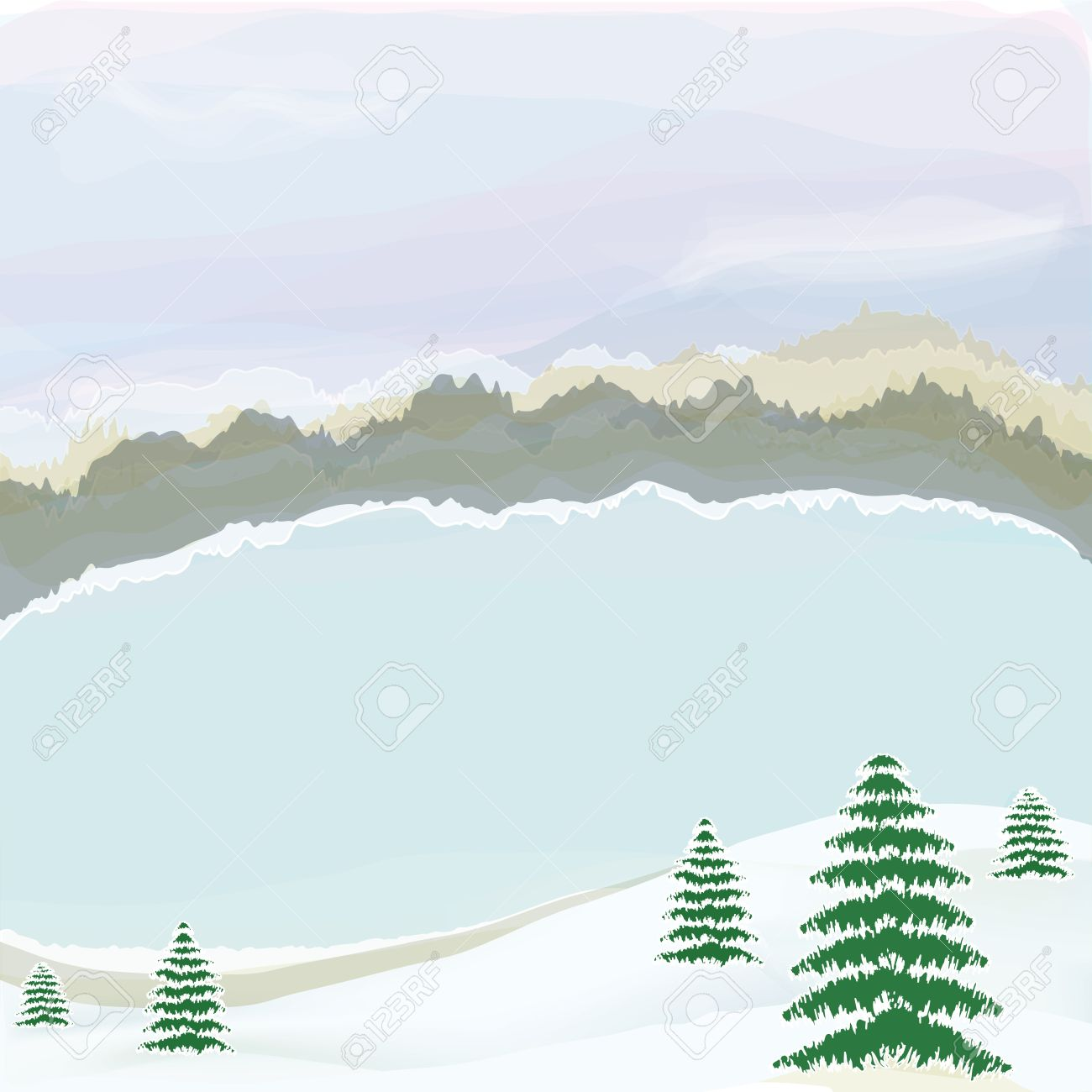Winter Landscape With Lake,cloudy Sky,snow, Coniferous Trees.