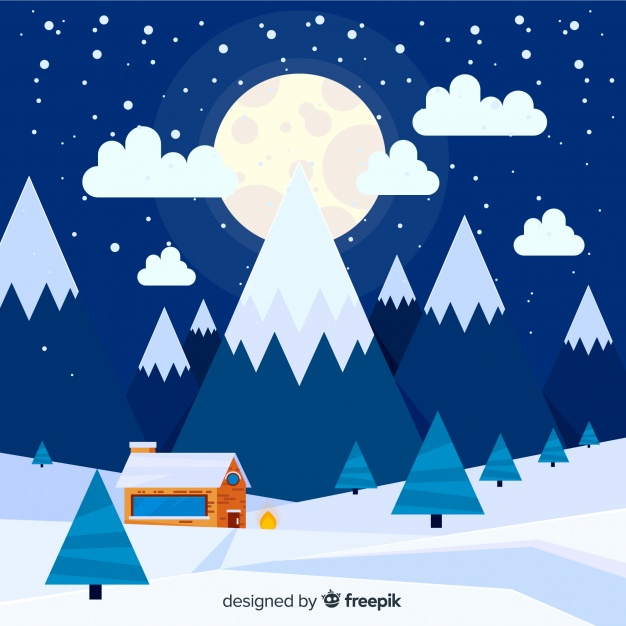 Big moon winter landscape background Vector.