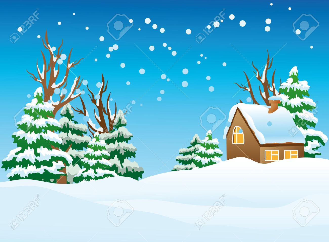 christmas landscape clipart #13