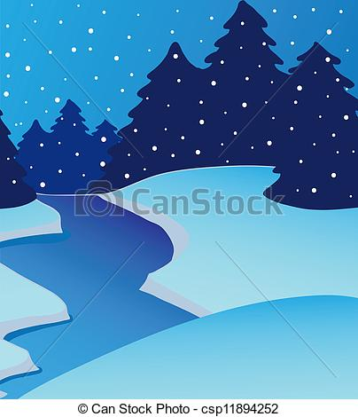 Clipart Vector of Landscape river on winter.