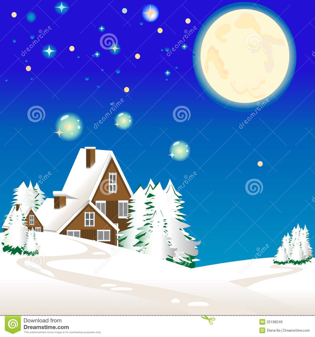 Winter Landscape Clip Art.