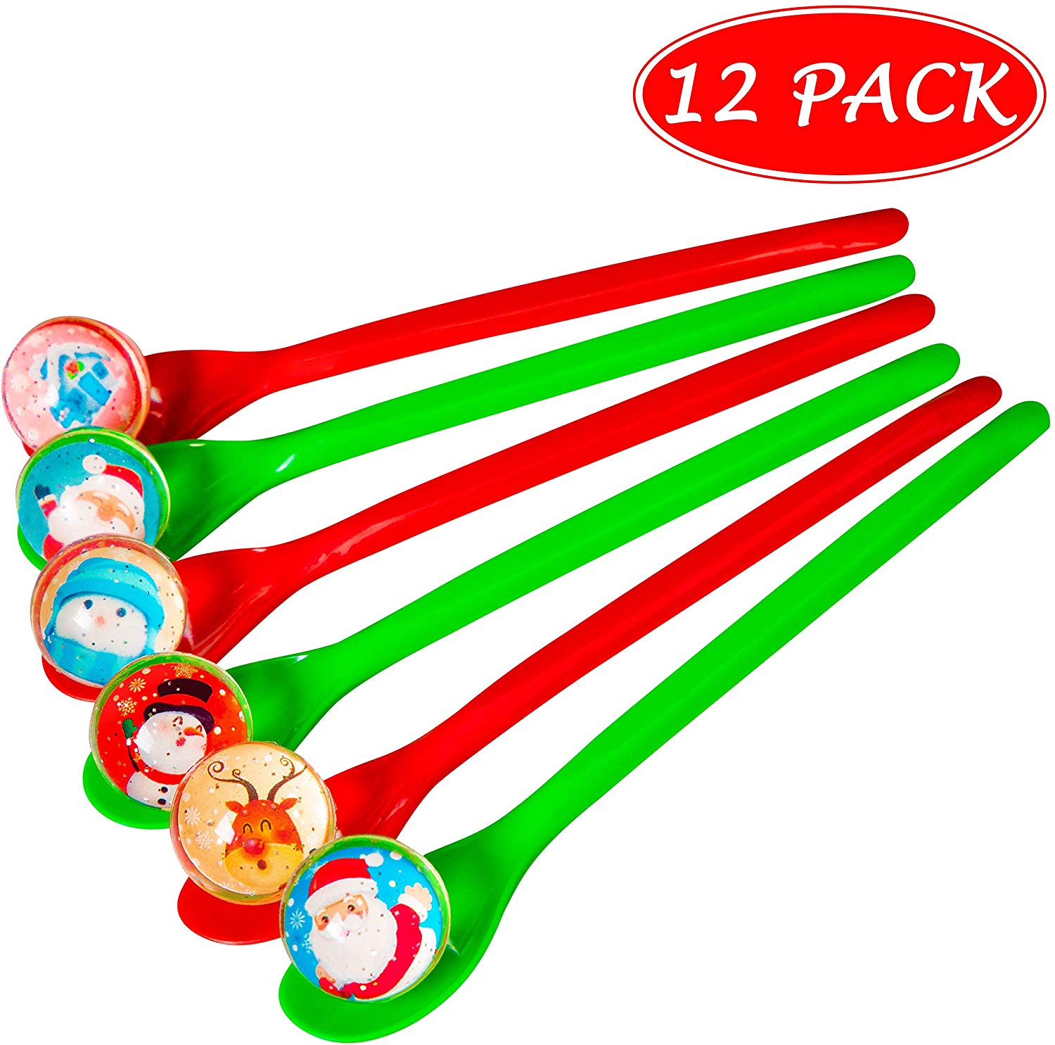 Christmas Game Bouncy Ball Spoon Relay Race Toy for Kids Adults Indoor  Outdoor Decorations Xmas/Holiday/Winter Party Supplies Favors.