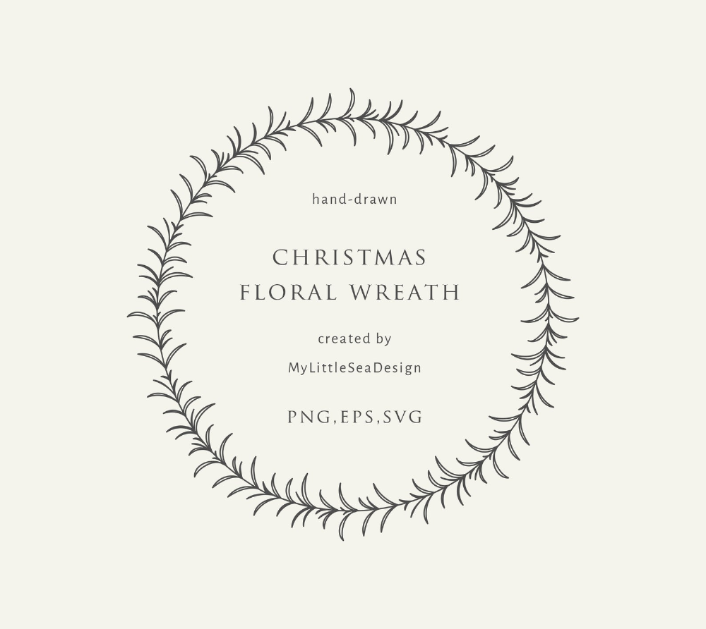 Christmas Floral Wreath SVG.
