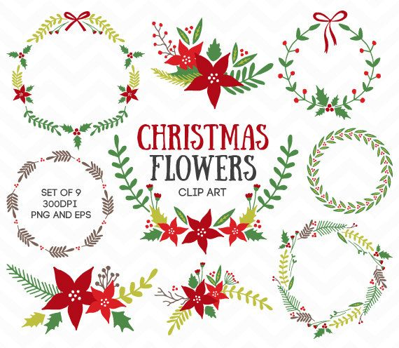 Christmas Flowers Wreaths Laurel Clipart Foliage Floral Red.