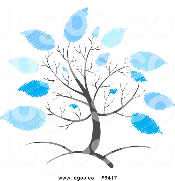 Royalty Free Clip Art Vector Logo of a Tree with Scribbled Blue.