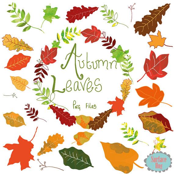 Leaf Clipart AUTUMN LEAVES clip art Leaf clip art by SurfaceHug.