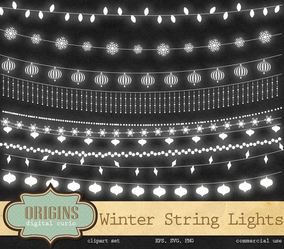 Winter String Lights Clipart ~ Illustrations on Creative Market.