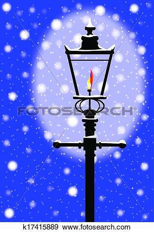 Clip Art of Winter Gaslight k17415889.