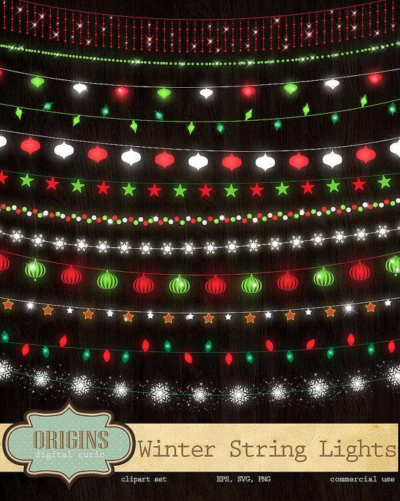 Festive Winter String Lights Clipart Red by OriginsDigitalCurio.